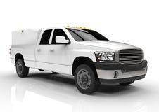 Vit leveranslastbil för kommersiellt medel med en dubbel taxi och en skåpbil stock illustrationer