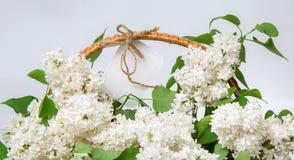 Vit lila i en korg med en vit etikett Royaltyfri Fotografi