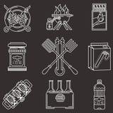 Vit linje symboler för grillfest Royaltyfria Bilder