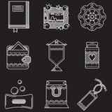Vit linje symboler för handgjorda objekt Royaltyfri Foto