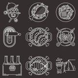 Vit linje symboler för picknick Fotografering för Bildbyråer