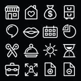 Vit linje symboler för Websitemenynavigering på svart Royaltyfri Foto
