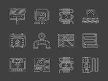 Vit linje symbolsuppsättning för varmt golvsystem Royaltyfri Bild