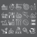 Vit linje uppsättning för vektor av plana symboler och beståndsdelar om mat och drinken Fotografering för Bildbyråer