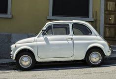 Vit liten tappning Fiat Abarth Royaltyfri Foto
