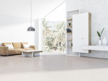Vit loftvardagsrum, beige soffa vektor illustrationer