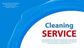 Vit lokalvård- eller tvätteriservice och blå bakgrund med en färgstänk av vatten Affisch eller baner för renlighet vektor stock illustrationer