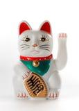 Vit lycklig katt, Maneki-neko Arkivfoto