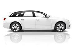vit lyxig SUV bil för 3D Arkivbilder