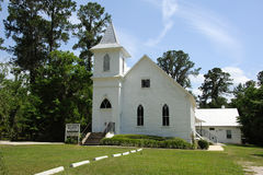 Vit målad kyrka i Florida USA arkivfoto