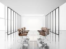 Vit mötesrum med panorama- fönster 3d Fotografering för Bildbyråer