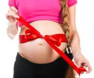 Vit magebow för gravid kvinna 0121 (62) .jpg Arkivbilder
