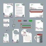 Vit mall för företags identitet med röda gröna och blåa beståndsdelar Vektorföretagsstil för brandbookanvisning 10 eps royaltyfri illustrationer
