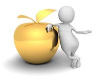 Vit man 3d med guld- Apple bollar dimensionella tre Royaltyfria Bilder