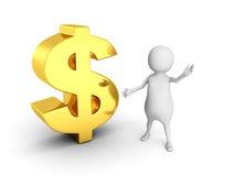 Vit man 3d med guld- dollarvalutasymbol Royaltyfria Bilder
