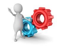 Vit man 3d med två röda blåa mekaniska kugghjulkugghjul Fotografering för Bildbyråer