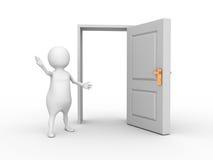 Vit man 3d och öppnad dörr Royaltyfria Foton