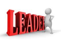 Vit man för ledare 3d med röd begreppstext Arkivbild