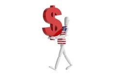 Vit man för USA-dollasvaluta Royaltyfri Fotografi