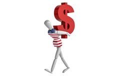 Vit man för USA-dollasvaluta Arkivbild