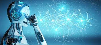 Vit mancyborg som använder tolkningen för anslutning för digitalt nätverk 3D vektor illustrationer