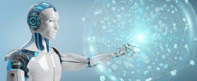 Vit manlig humanoid genom att använda den digitala tolkningen för globalt nätverk 3D stock illustrationer
