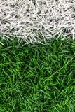 Vit markering på en grön gräsmatta arkivbild