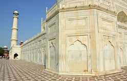 Vit marmor Taj Mahal, Indien Arkivbild