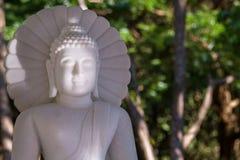 Vit marmorBuddha i en tempel Thailand Arkivbild