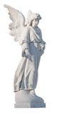 Vit marmorstaty av en härlig kvinnligängel Arkivbild