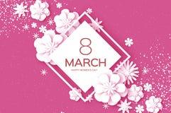 Vit8 mars Lycklig dag för kvinnor s Moderiktig dag för moder s Papper klippt blom- hälsningkort Origami blomma text rhombus vektor illustrationer