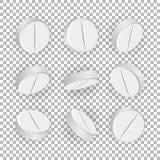 Vit medicinsk preventivpillerar 3D eller drogvektorillustration Uppsättning av realistiska minnestavlor som isoleras på rutig bak royaltyfri illustrationer