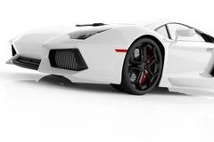Vit metallisk snabb sportbil på den vita bakgrundsstudion blankt Royaltyfri Fotografi