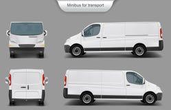 Vit minivanframdel, baksida, sidosikt royaltyfri illustrationer