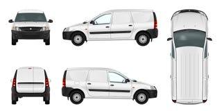 Vit minivanmall Tom vektorleveransskåpbil stock illustrationer