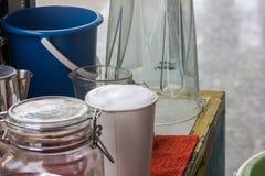 Vit mjölkar skum på kaffeis Arkivfoto