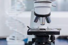 Vit modell av DNA:t som står på förgrunden Royaltyfria Bilder