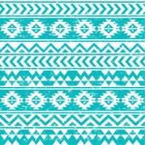Vit modell för Aztec stam- sömlös grunge på blå bakgrund royaltyfri illustrationer