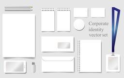 Vit modellvektormall för företags identitet med arket, notepad, kuvert, papper, affärskort, emblem, smartphone, penna Arkivbilder
