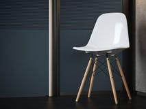 Vit modern stol nära mörk kontorsdörr framförande 3d Royaltyfri Fotografi