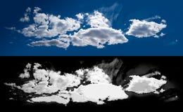 Vit molnutklippmaskering Arkivfoton