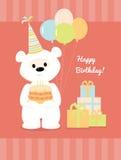 Vit nallebjörn med kakan, ballonger och gåvor Royaltyfri Foto