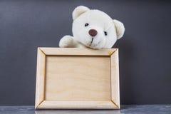 Vit nallebjörn som rymmer den tomma träramen Grå färgbakgrund arkivfoton
