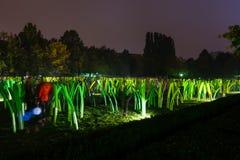 Vit natt - samtida konstfestival i Bratislava, Slovakien, Arkivbild