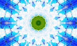 Vit och blå mandala med en grön kärna vektor illustrationer