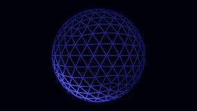 Vit och blå roterande sfäranimering på svart bakgrund, sömlös ögla Roterande genomskinlig boll som bildas av neon royaltyfri illustrationer