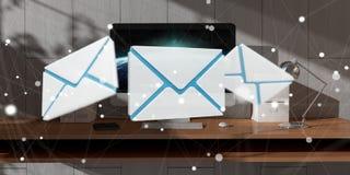 Vit och blått email att flyga över den skrivbords- tolkningen 3D Arkivbild