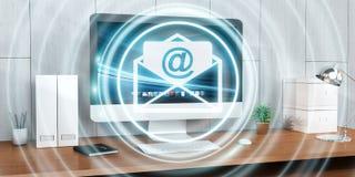 Vit och blått email att flyga över den skrivbords- tolkningen 3D Royaltyfri Bild