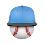Vit- och blåttbaseballmössamall Arkivbild