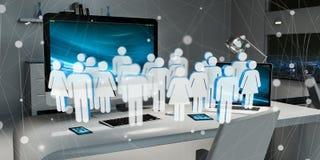 Vit- och blåttgrupp människor som flyger över den skrivbords- tolkningen 3D Arkivbild